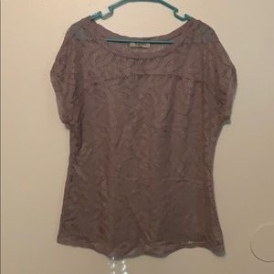 Gray lace patterned top